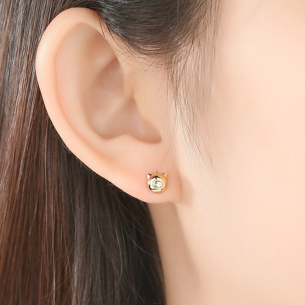 Woman Wearing Fine 14K Gold Super Cute Golden Pig Luxury Women's Piggy Stud Earrings