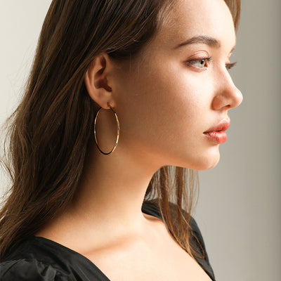 Woman Wearing Large Big Hoop 14K Gold Plated 925 Sterling Silver Pair Of Minimalist Earrings