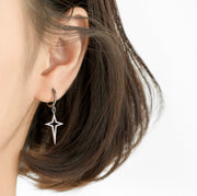 Hollow Funky Star Cross 925 Sterling Silver Minimalist Drop Earrings