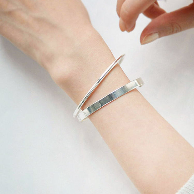 Woman Wearing Minimalist Stackable 925 Sterling Silver 5mm Simple Solid Bracelet