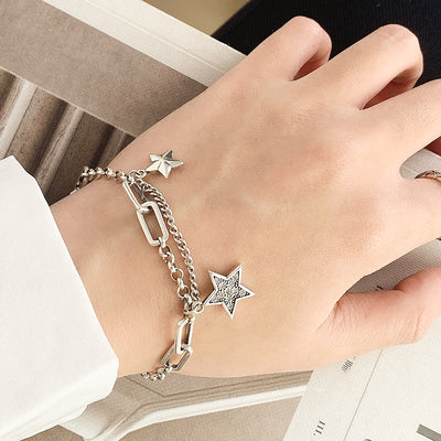 Multi Chain Link Sterling Silver Retro Star Bracelet
