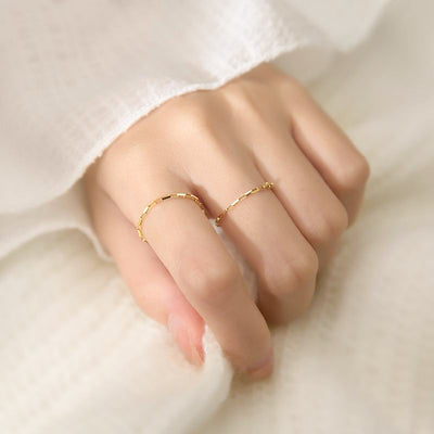 Woman Wearing Multiple Dainty Chain Link Style Minimalist Stackable 18K Gold Plated 925 Sterling Silver Ring