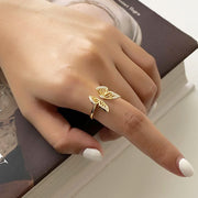 Woman Wearing Open Butterfly 18k Gold Plated 925 Sterling Silver Ring