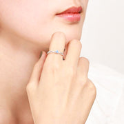 Woman Wearing Princess Matching Couples Promise Sterling Silver Adjustable Rings