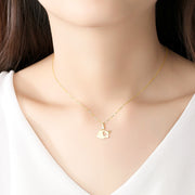Woman Wearing Super Cute 14K Gold Sweet Baby Piggy Love Heart Pig Necklace