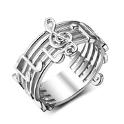 925 Sterling Silver Wide Musical Note Ring