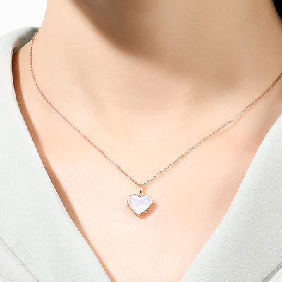 Women Wearing Butterfly And Heart Shaped Pearl Locket I Love You 925 Sterling Silver Necklace