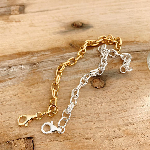 Women's Cable Link Chain 18K Yellow Gold Plated 925 Sterling Silver Bracelet