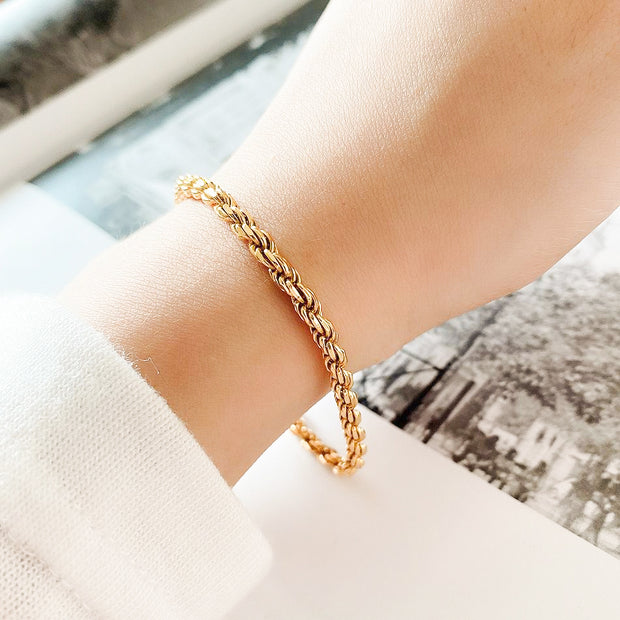 Women's Classic Rope Twist 18k Yellow Gold Plated Sterling Silver Minimalist Bracelet
