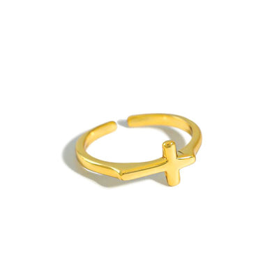 Adjustable Minimalist Plain Cross Ring In 925 Sterling Silver & 18K Gold Plate