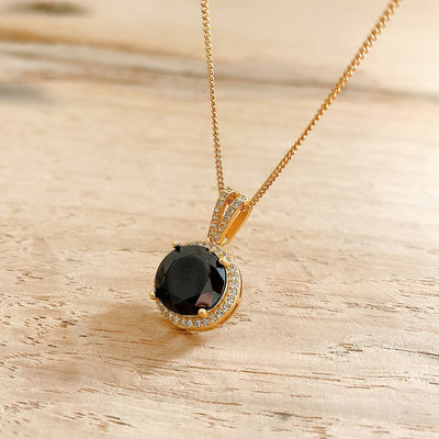 beautiful black gemstone dainty round 18k gold plated 925 sterling silver cubic zirconia necklace