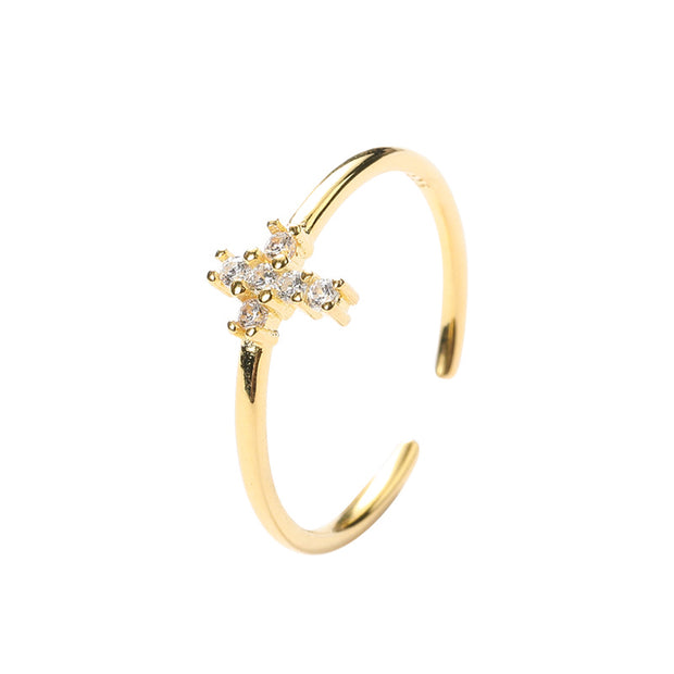 beautiful dainty sterling silver cross ring with cubic zirconia gemstones and gold plate