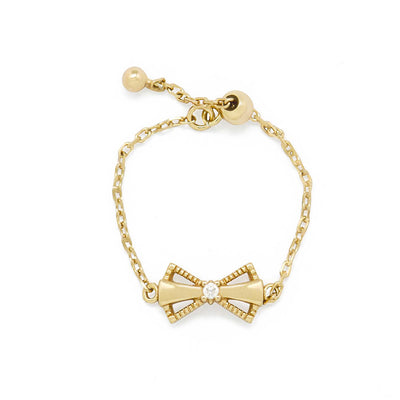 bow tie bowknot adjustable chain ring 14k gold plated 925 sterling silver ring