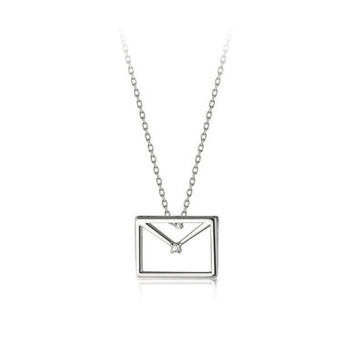 clever dainty envelope letter 925 sterling silver cubic zirconia necklace