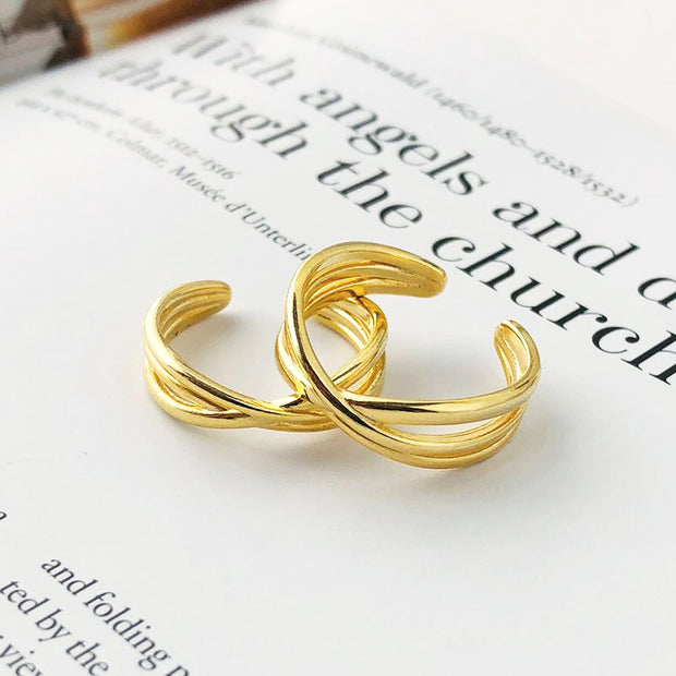Triple Criss Cross Minimalist 18k Yellow Gold Plated Crossover Adjustable Ring