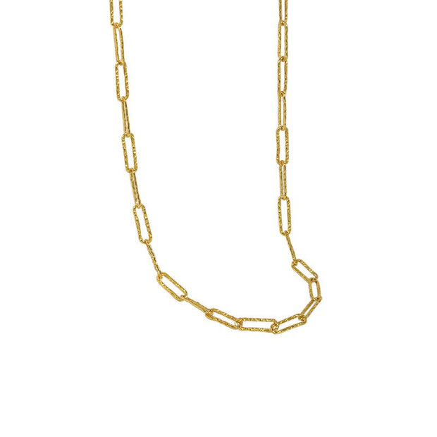 diamond cut wide link 14k gold sterling silver chain necklace