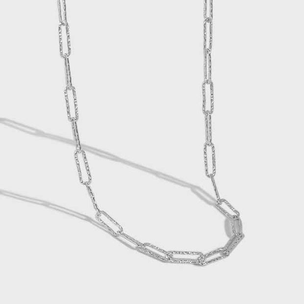 diamond cut wide link sterling silver chain necklace