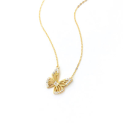 gold plated 925 sterling silver cubic zirconia dainty butterfly necklace
