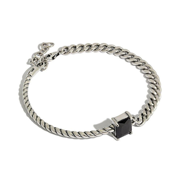 half rope link and cuban chain link black gemstone solid 925 sterling silver bracelet