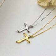 liquid metal 18K gold plate 925 sterling silver white rhodium cross minimal womens necklace