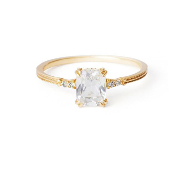 natural crystal stackable 14k gold plated engagement style ring