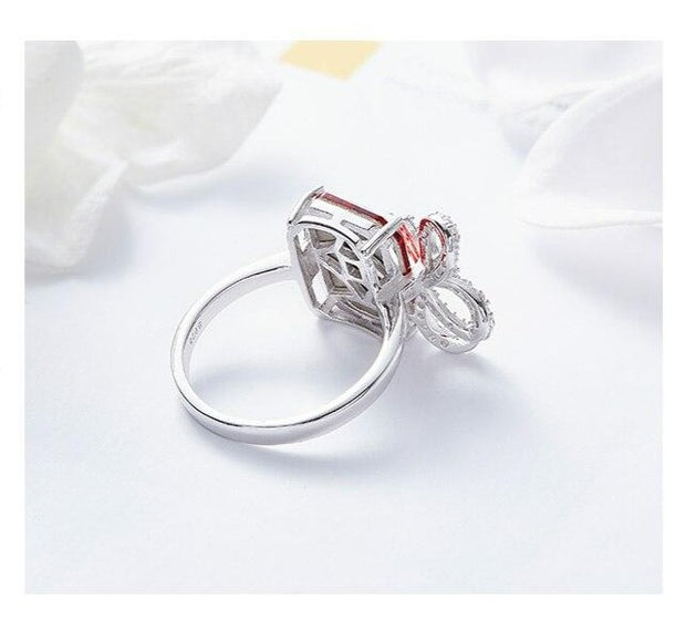 Swarovski Square Crystal & 925 Sterling Silver Bow-tie Ring