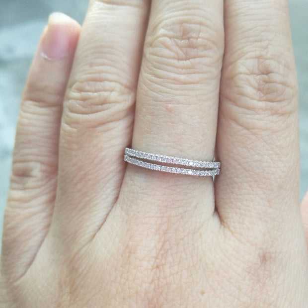 Stackable Eternity Wedding Band 925 Sterling Silver Ring Set