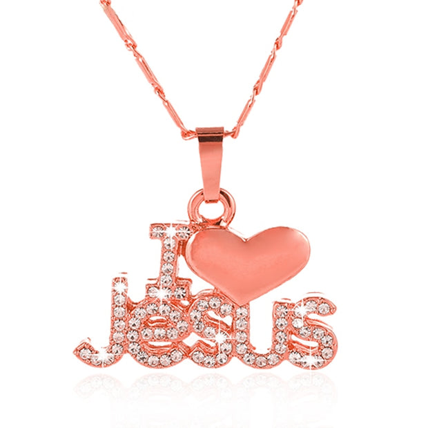 I Love Jesus With Heart Embellished Pendant & Necklace
