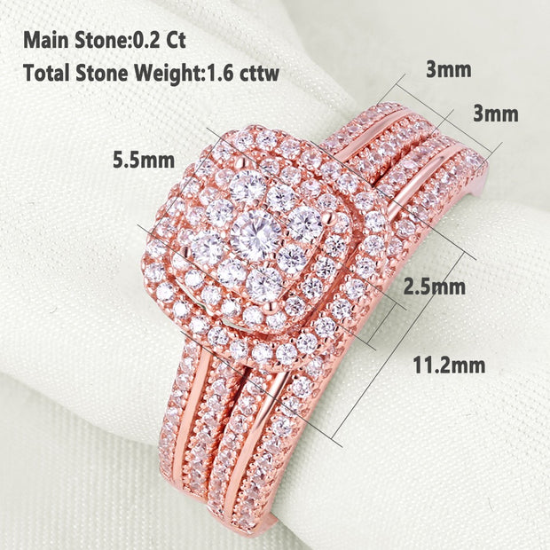 2 Piece Rose Gold Color & 925 Sterling Silver 1.6 Carat Bridal Set