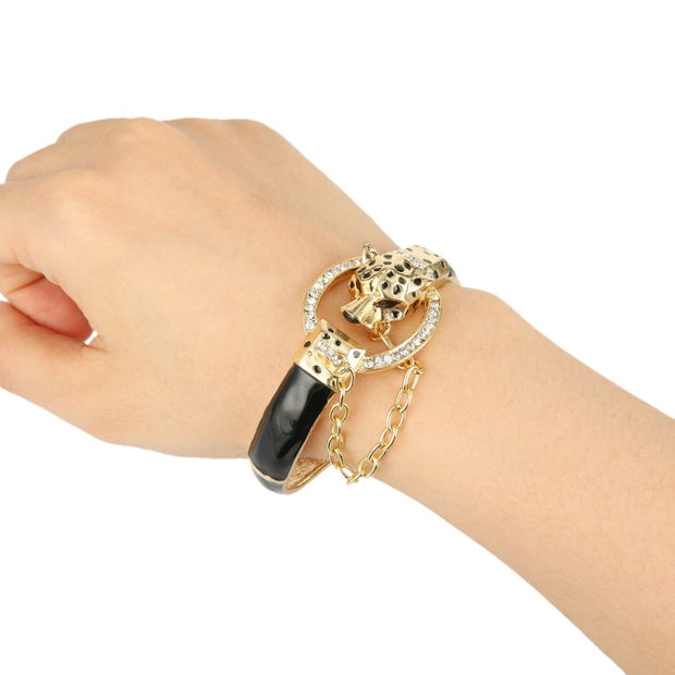 Leopard Panther Austrian Crystal Bracelet Bangle