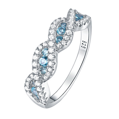 Rope Twist Aqua Blue CZ Crystal & 925 Sterling Silver Ring