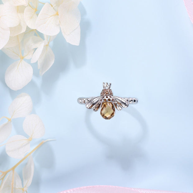 Luxe 925 Sterling Silver Honey Bumble Bee Adjustable Ring