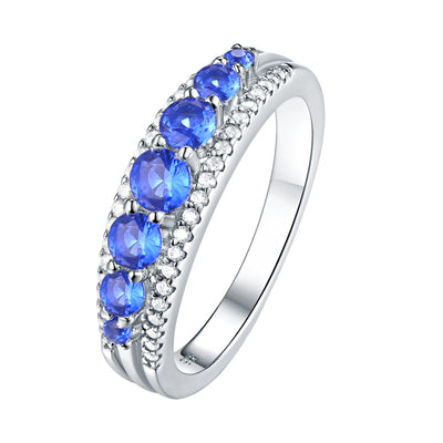 925 Sterling Silver Blue CZ Eternity Ring