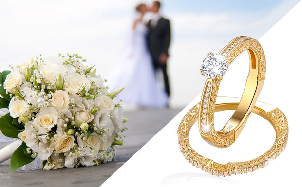 2 Piece 14K Yellow Gold Plated 1.2 Carat Bridal Sterling Silver Ring Set