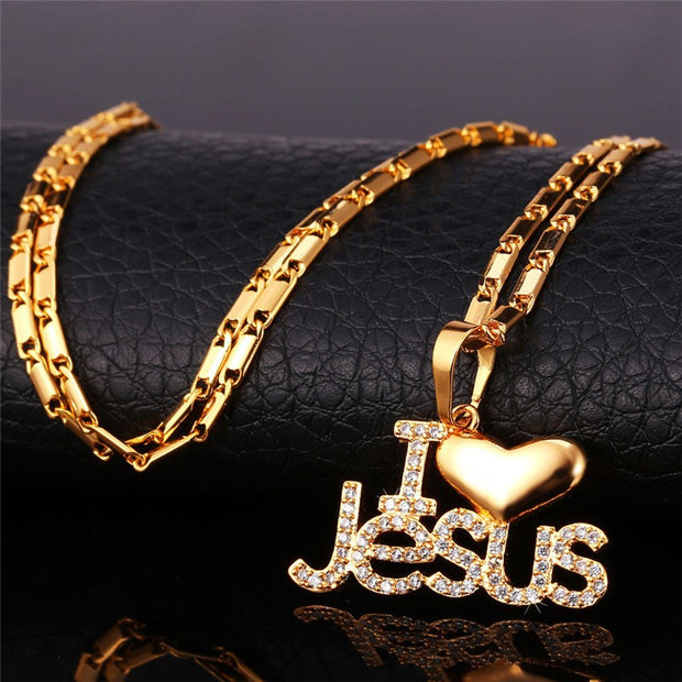Women's Embellished I Love Jesus Heart Pendant Necklace