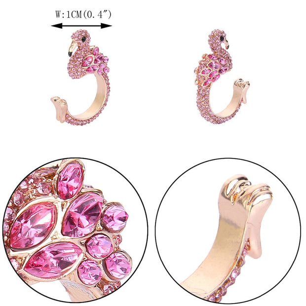 Austrian Crystal Flamingo Open Party Rings