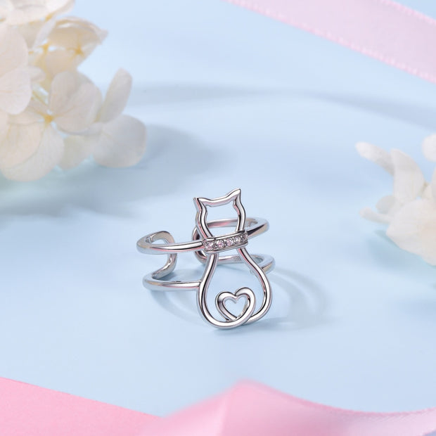 925 Sterling Silver Cute Cat Heart Hollow Ring