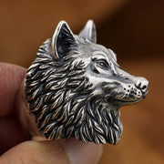 Huge Heavy Duty Wolf 925 Sterling Silver Biker Punk Ring