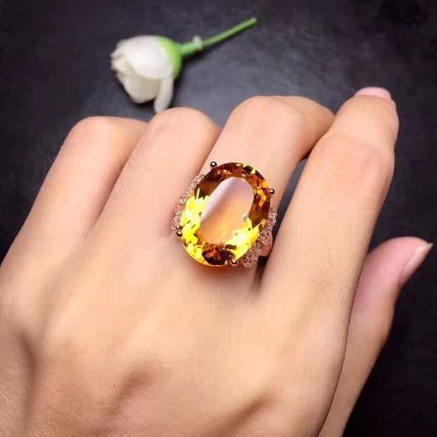 Natural Citrine Gemstone 925 Sterling Silver Ring