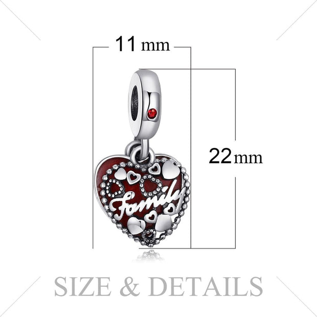 Sterling Silver Heart Enamel Family Charms