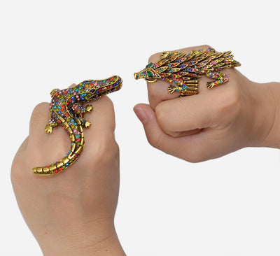 Funky Bronze Colored & Rhinestone Crocodile Fashion Rings