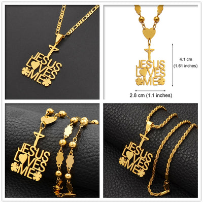 Jesus Loves Me Heart & Clover Pendant & Necklaces