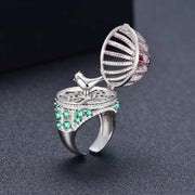 Fun Unique Open & Close Fancy Colored Bird With Luxury Birdhouse Ring