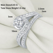 2 Piece Eternity Pure 925 Sterling Silver 1.13 Ct Wedding Ring Set