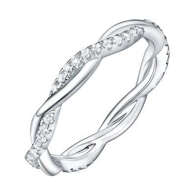 Twisted Rope 925 Sterling Silver Wave Style Wedding Ring