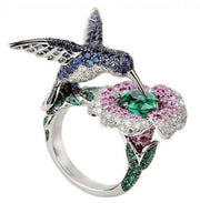 Silver Plated Crystal Rhinestones Hummingbird Flower Ring