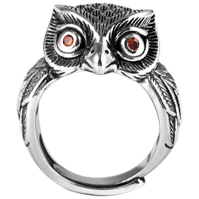 Thai S925 Silver Retro Owl Adjustable Ring