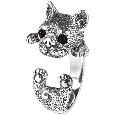 925 Thai Silver Cute French Bulldog Puppy Open Ring