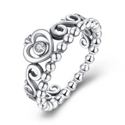 Princess Heart Crown CZ 925 Sterling Silver Stackable Ring