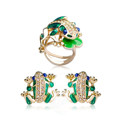 Enamel Earrings & Ring Green Tree Frog Jewelry Set